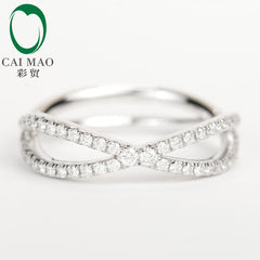 CaiMao 18KT/750 White Gold 0.23 ct Round Cut Diamond Engagement Gemstone Wedding Band Ring Jewelry