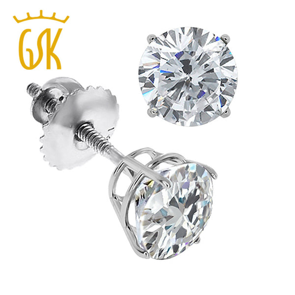 GemStoneKing 2016 New Luxury Jewelry 0.60 Ct Round Cut 14K White Gold Natural Diamond Women Stud Earrings Screwback