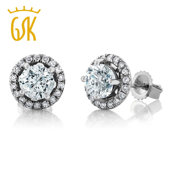 GemStoneKing 14K White Gold Halo Illusion Earrings 1.18 Ct Round Natural G/H Diamond H/I Diamond Stud Earrings For Women Men