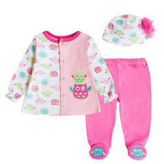 Baby's Sets Boy Girl Clothes With Baby Cap 100%Cotton Long Sleeve Newborn Clothing criancas Definir Roupas de bebe