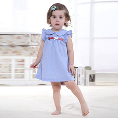 2016 Summer Retail Baby Girls Dress Infant 100% Cotton Clothing Sleeveless Printed Embroidery Baby Dress Summer Clothes