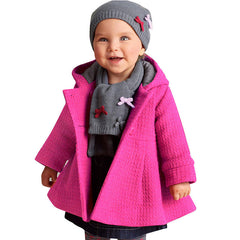 2016 Lovely Baby Girl Coat Pink Red with Hood Jacket for Girls Wool Blend Thick Warm Overcoat Baby Cloak Children's Clothing