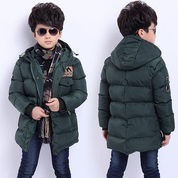 Jackets for Boys Winter 2016 Park for Boy Hoodie Parka Padded Snowsuit Boys Down Jacket Kids Black Orange Kids Winter Jacket