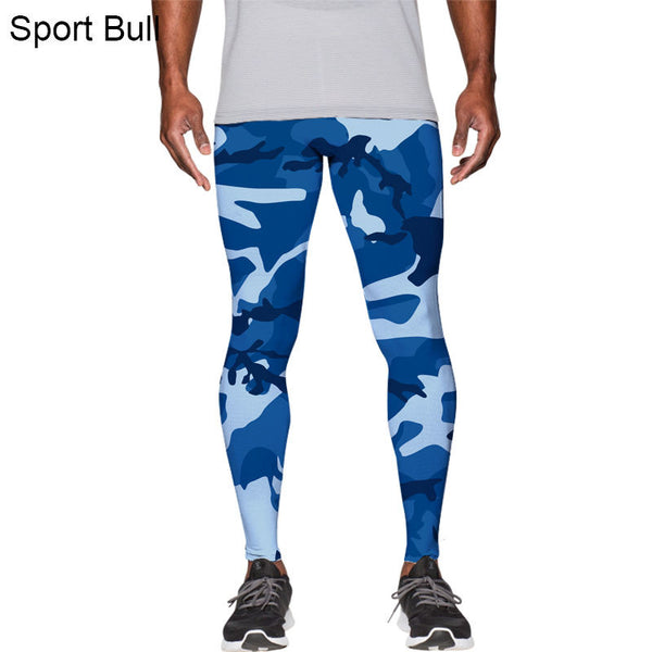 New Casual 3D Digital Printing Men's Tight Trousers Camouflage Bodybuilding Compression Pants Large Blue