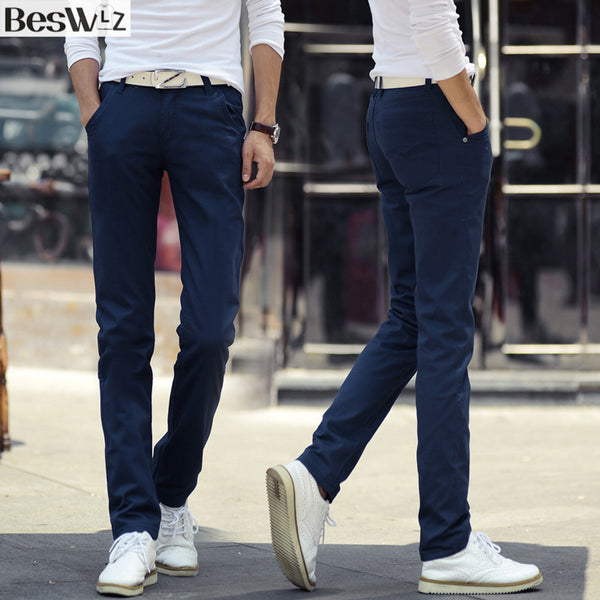 2017 New Brand Beswlz Slim Solid-colored Straight Casual Pant Cotton Mid Waist Pants /Trousers for Men Pantalones Hombre Free Shipping