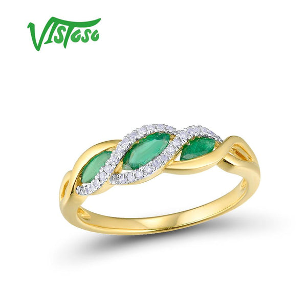 VISTOSO Gold Rings For Women Genuine 14K 585 Yellow Gold Ring Sparkling Diamond Magic Emerald Engagement Rings Fine Jewelry
