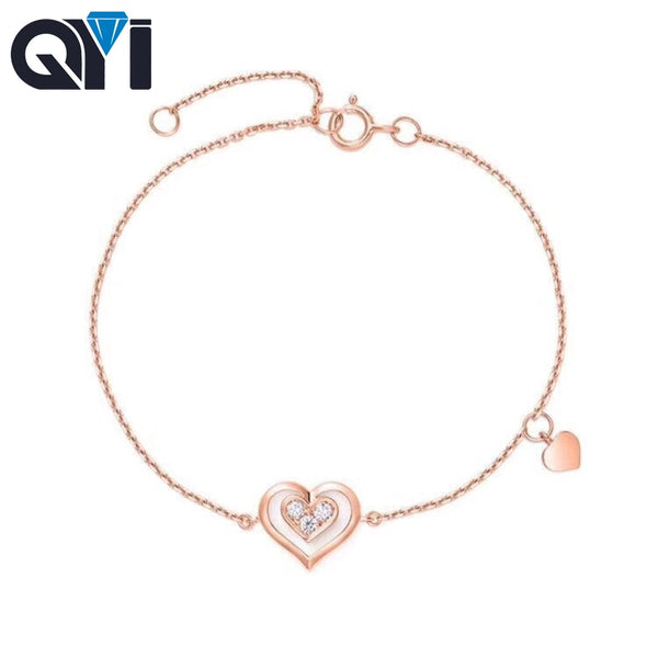 QYI Heart-shaped 18k Pure Rose Gold Diamond Bracelet Women Fashion Bangle Romantic Female Jewelry Girl Gift Party Gift