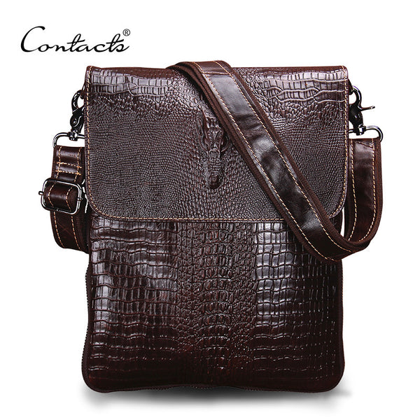 CONTACT'S Fashion Designer Genuine Leather Crossbody Bags For Men High Quality Handmade Crocodile Leather Small Shoulder Bag