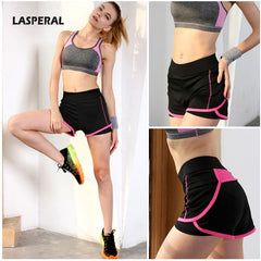 New Arrival Two-Pieces High Waist Shorts Feminino Sexy Elastic High Waist Workout Shorts for Women - Black
