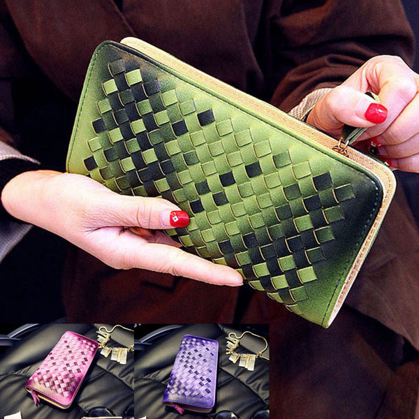 2016 Fashion Women Wallets Knitting Long Lady Hadbags Clutch Coin Purse PU Leather Woman Wallet Ladies Wallet Card Holder