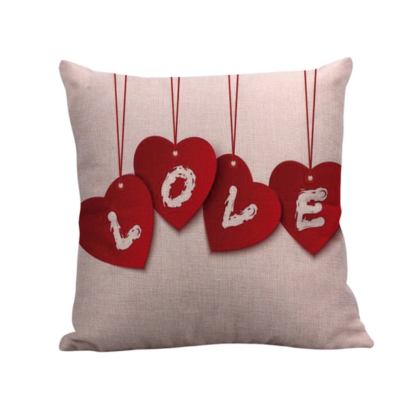 Happy Valentines Day Linen Pillow Cover Throw Waist Pillow Cover Cushion Home Deco Cover Sofa Car Seat Decorative Pillowcover