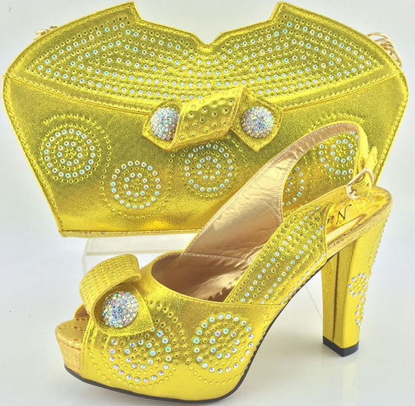 New Trendy Yellow Charming Italian with Matching Bags Rhinestones African Womens Shoes and Bags Set for Wedding