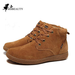 men shoes 100% Genuine Leather men Boots Classic Men's Winter Snow  Boots Outdoor Work shoes Rubber Men Warm boots