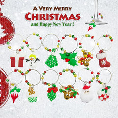 6/12pcs/set Mixed Christmas Wine Glass Decoration Charms Party New Year Cup ring Table Decorations Xmas Pendants Metal Ring Deco