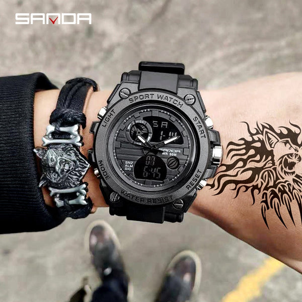 2018 New SANDA 739 Sports Men's Watches Top Brand Luxury Military Quartz Watch Men Waterproof S Shock Clock relogio masculino