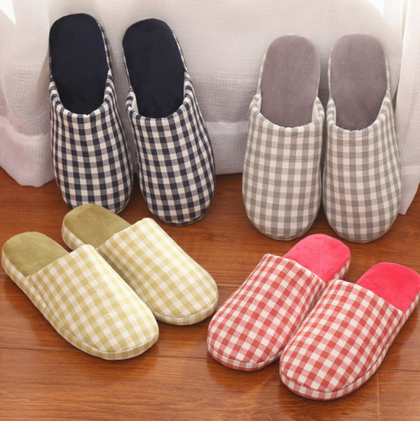 2016 Autumn Home Slippers women lattice For Men  indoor slippers Plush Shoes stripe Winter Unisex Lovers Cotton Home Slippers
