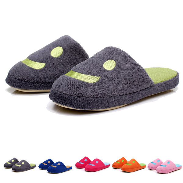 Autumn Winter Lover House Home Floor Warm Slippers Women Men Smile Shape Plush Soft Non-Slip Slipper Pantufas Shoe Wholesale