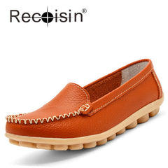 2017 New Arrival RECOISIN Genuine Leather Loafers Mother Flats Driving Shoes Office Ladies Shoes