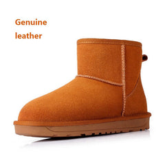 New Arrival Winter Genuine Leather Snow Ankle Womens Fur Lined Boots Cow Split Shoes