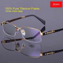 Men's Eyeglass Frames Titanium Glasses Frame Half Frame Spectacle Frames Eyewear M8001 2 Color Gold Grey 56-17-138mm