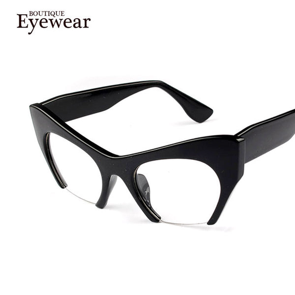 BOUTIQUE New Women Semi-Rimless Goggles Anti Fatigue Radiation resistant Cat Eye Glasses Frame Eyeglasses vintage