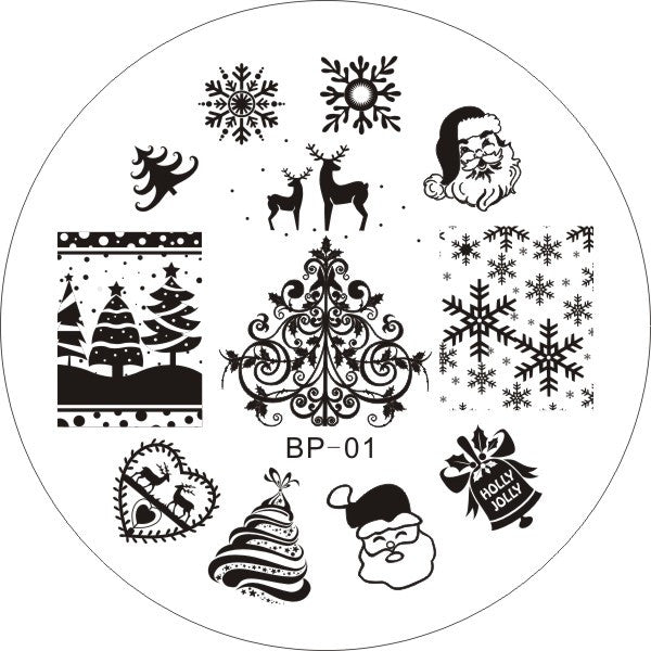 BP01 Nail Art Stamping Plates XMAS Image Round Stainless Steel Nail Stamp  Polish Template Christmas Stencils For Nails # 16848