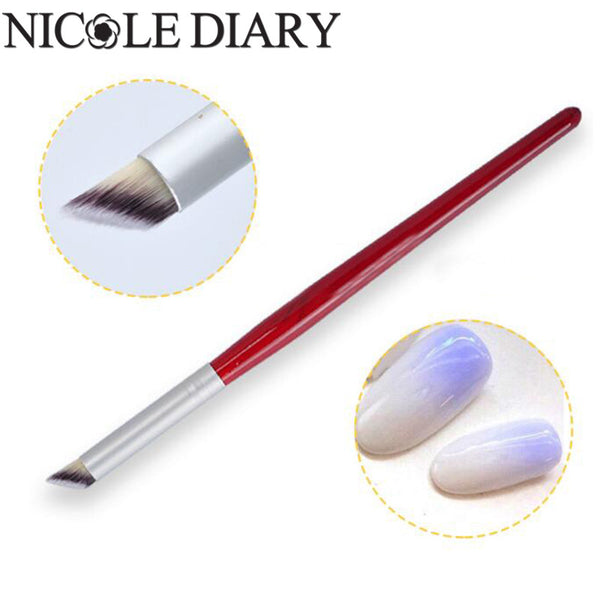 1Pc Nail Art Gradient Dizzy Dye Brush Wood Handle Angle Nail Brush Tool 8311329