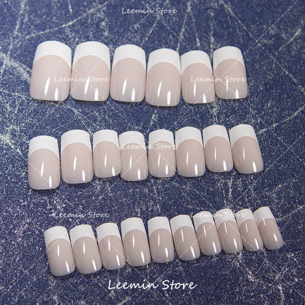 Upgraded !! Long white French style false nail , classical nails,   24 pcs/ set
