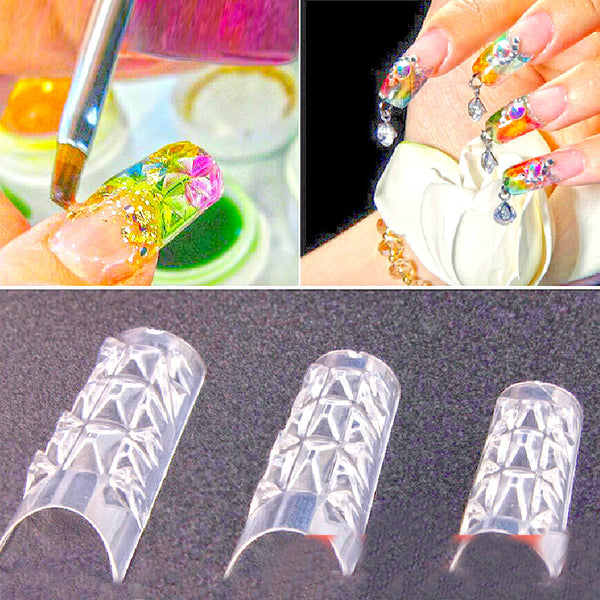 Free Shipping 500PCS New Clear Glaze False Fake  Nail Tips Fashion Beauty Glass Mosaic Nail Art Tips  Design Nail Essential