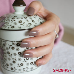 24 Hot Nail Refined Sugar Lovely Colors Fake Nails Middle Paragraph Shiny Surface In Coffee P57