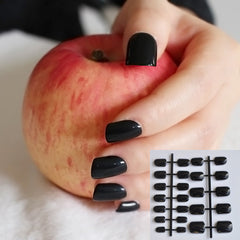DIY Nail Salon Goods Shine Surface Classic Black 24 Pcs Sweet Carnival Candy Short False Fake Nails Full Tips Finger Nails No.B