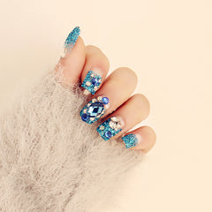 New 24 pieces (Pre-glue) Blue Rhinestone Bling Decoration Manicure 3D Long Fake false Sticker Faux Nails Tips With Glue [N552]
