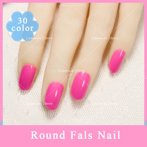 With nail tab sticker!! 24 HOT color false nail candy Manicure round fake nails