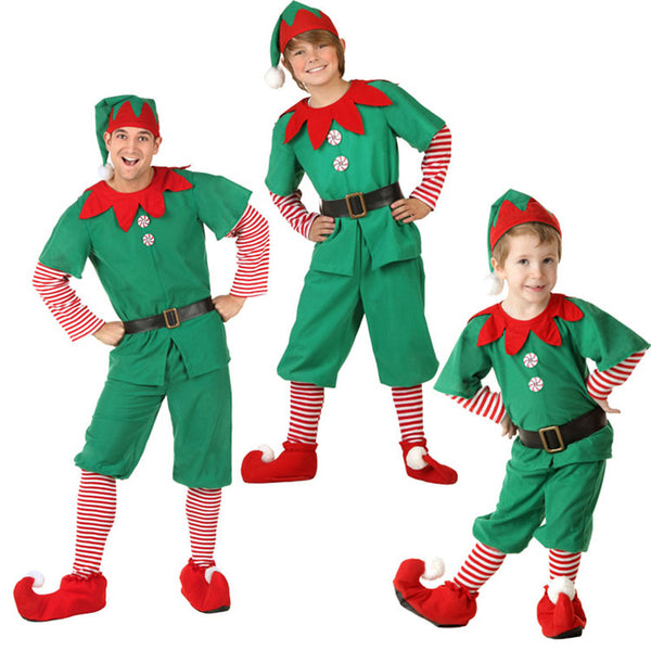 Rolecos Brand Christmas/Halloween 2016 Costume Long Sleeve Green and Red Boy Elf Suit Christmas Costume for Kids