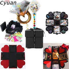 Cyuan Love Explosion Box DIY Handmade Photo Album Scrapbook Box for Birthday Party Gifts Wedding Valentines Day Favors Gift Box
