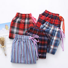 2019 Spring Autumn Women Cotton sleep bottoms Female loose plus size nighty trousers sleepwear pyjama Ladies Plaid pajama pants