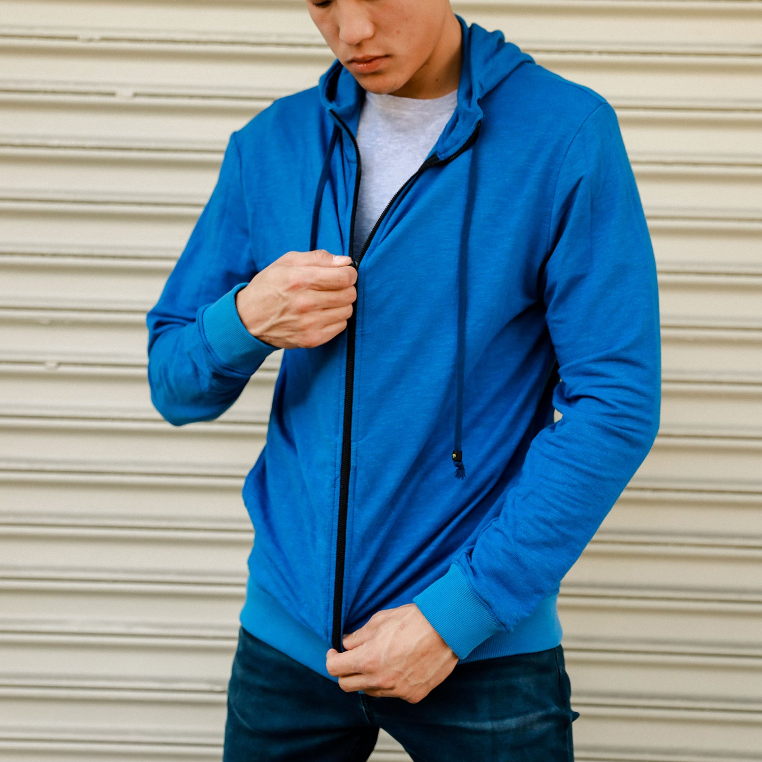 Fin Panel Zip Up Hoodie in Poseidon - Mitchell Evan