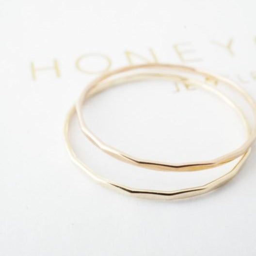 Hammered Skinny Stacking Ring - 14k Gold