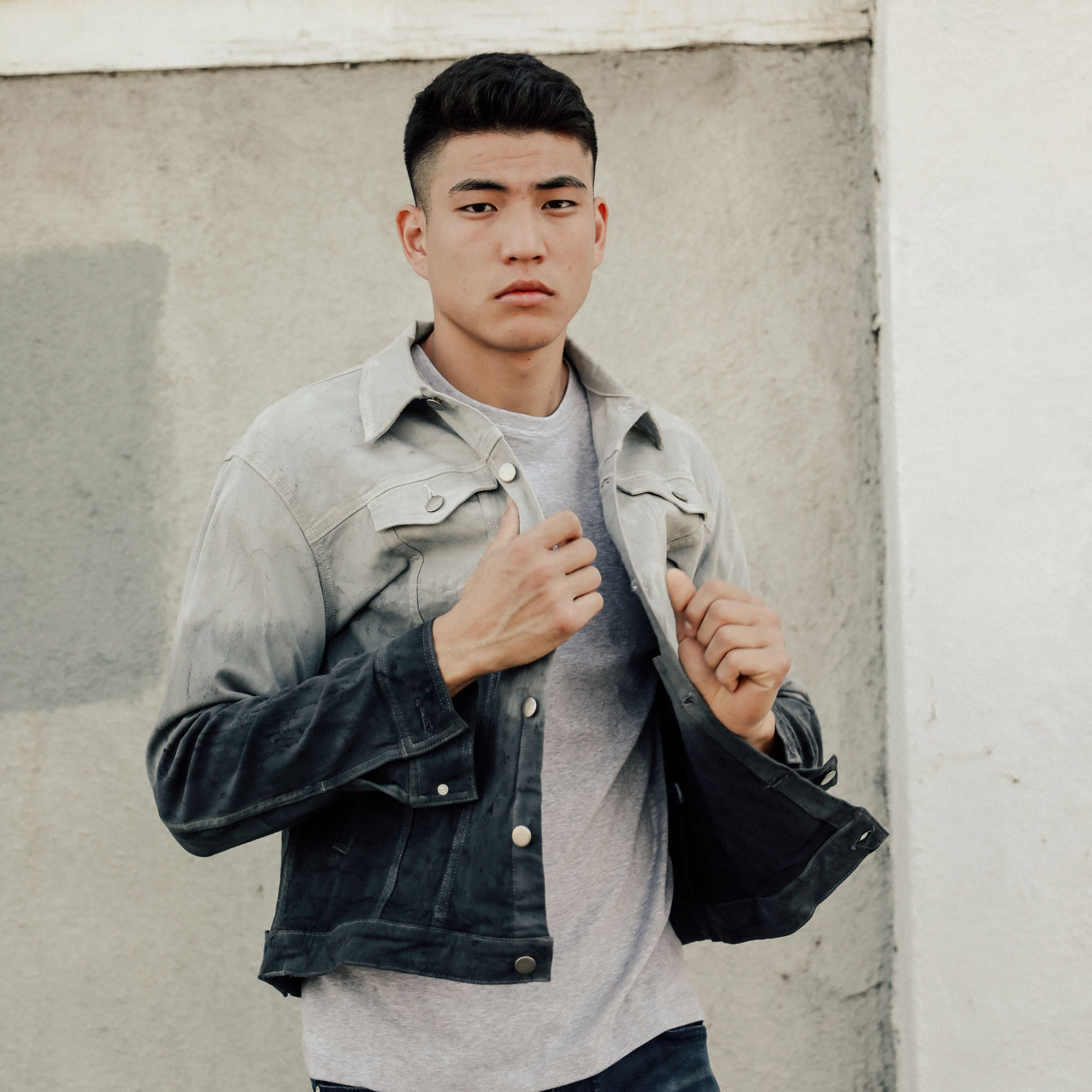 The Rico Twill Jacket in Black Marble - Mitchell Evan