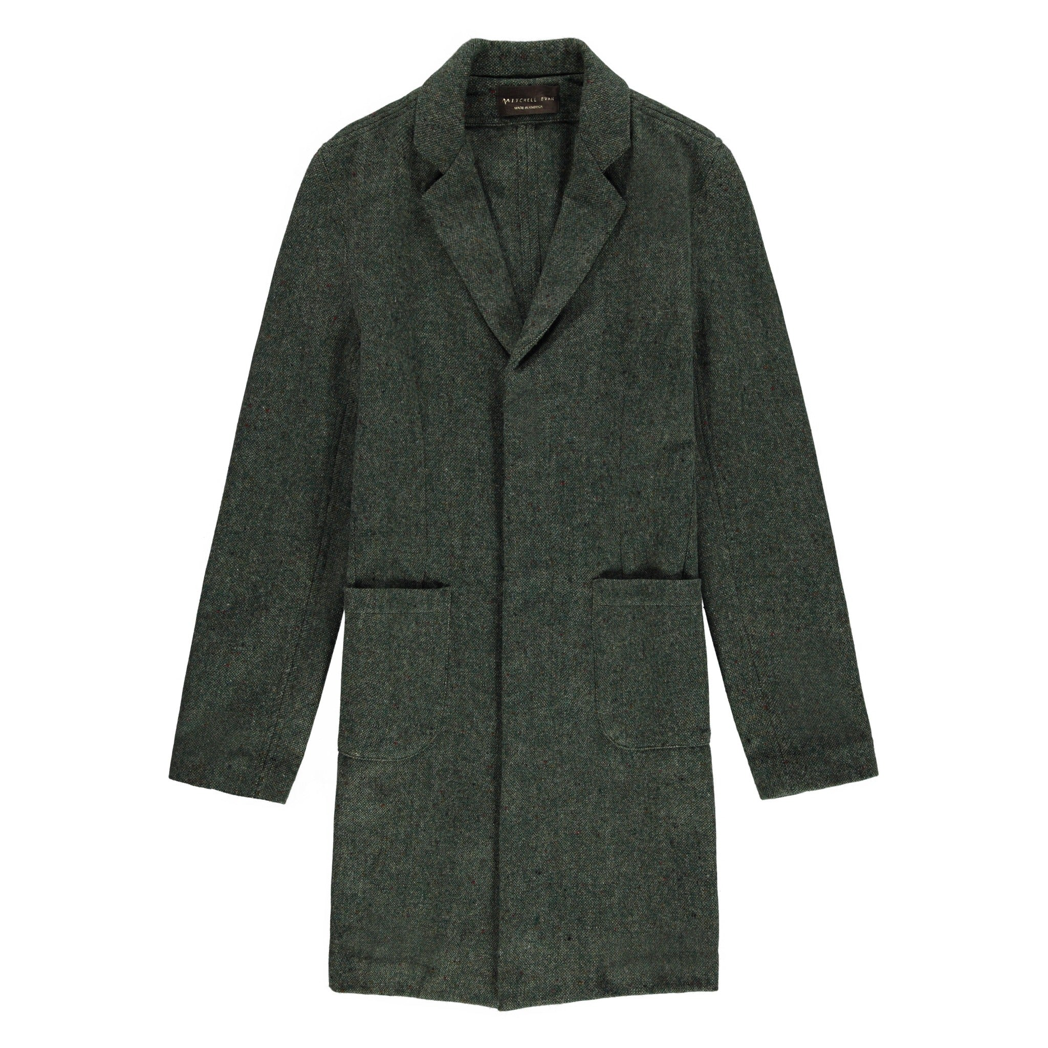 Cusack Overcoat in Heather Green - Mitchell Evan
