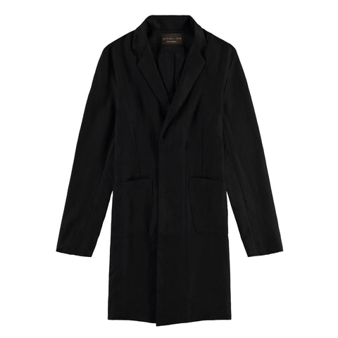 LINEN CUSACK OVERCOAT | BLACK - Mitchell Evan