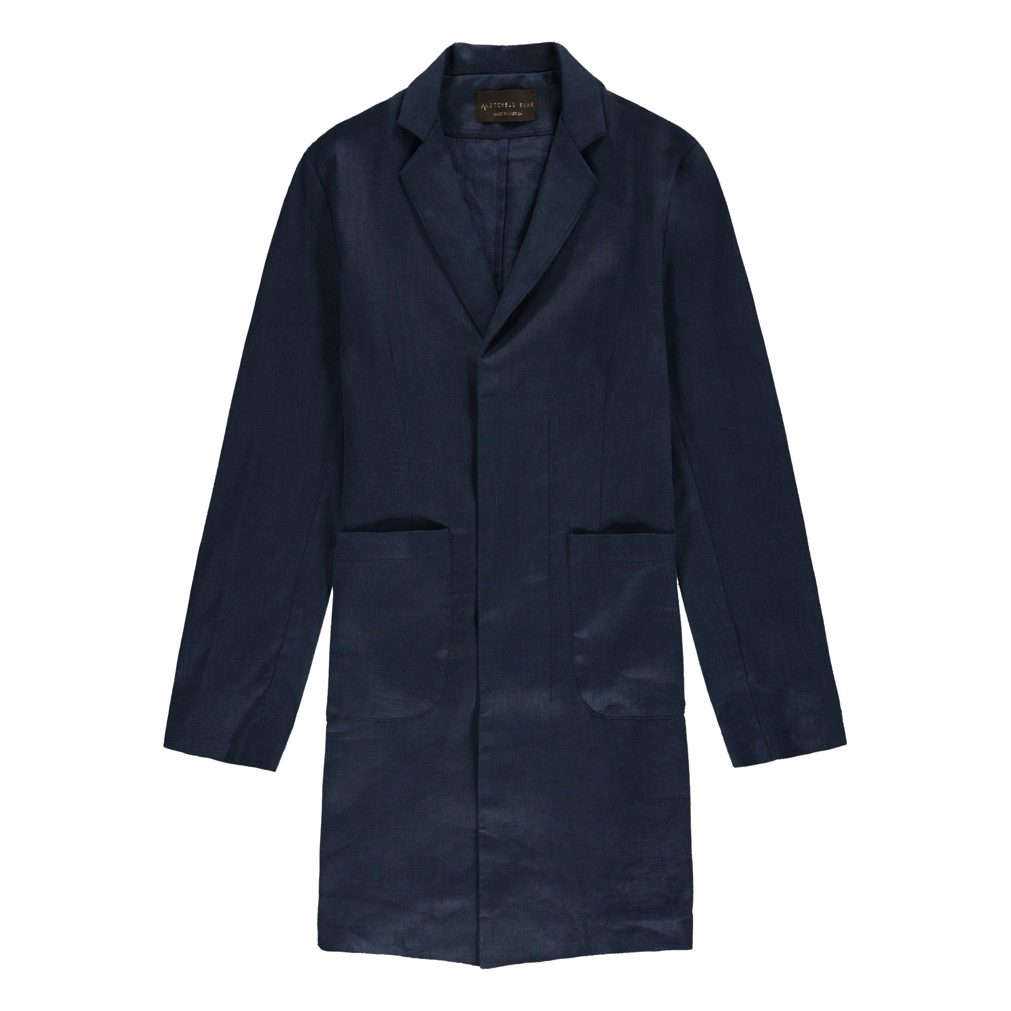 Linen Cusack Overcoat in Navy - Mitchell Evan