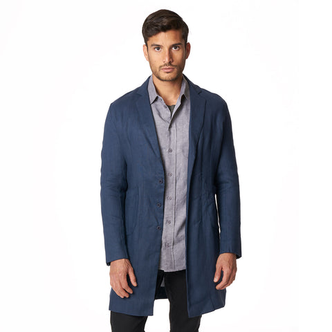 LINEN CUSACK OVERCOAT | NAVY - Mitchell Evan