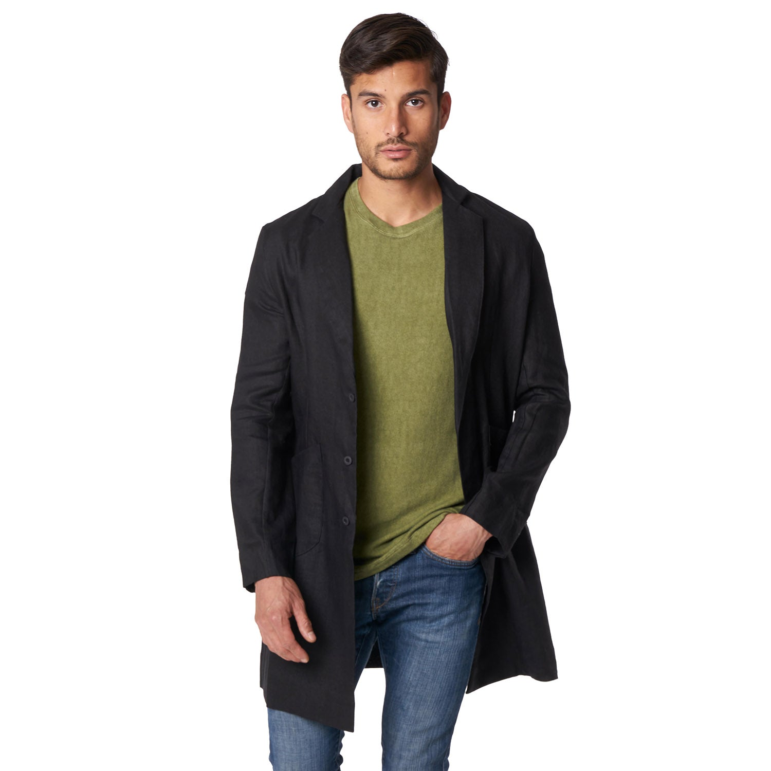 Linen Cusack Overcoat in Black - Mitchell Evan