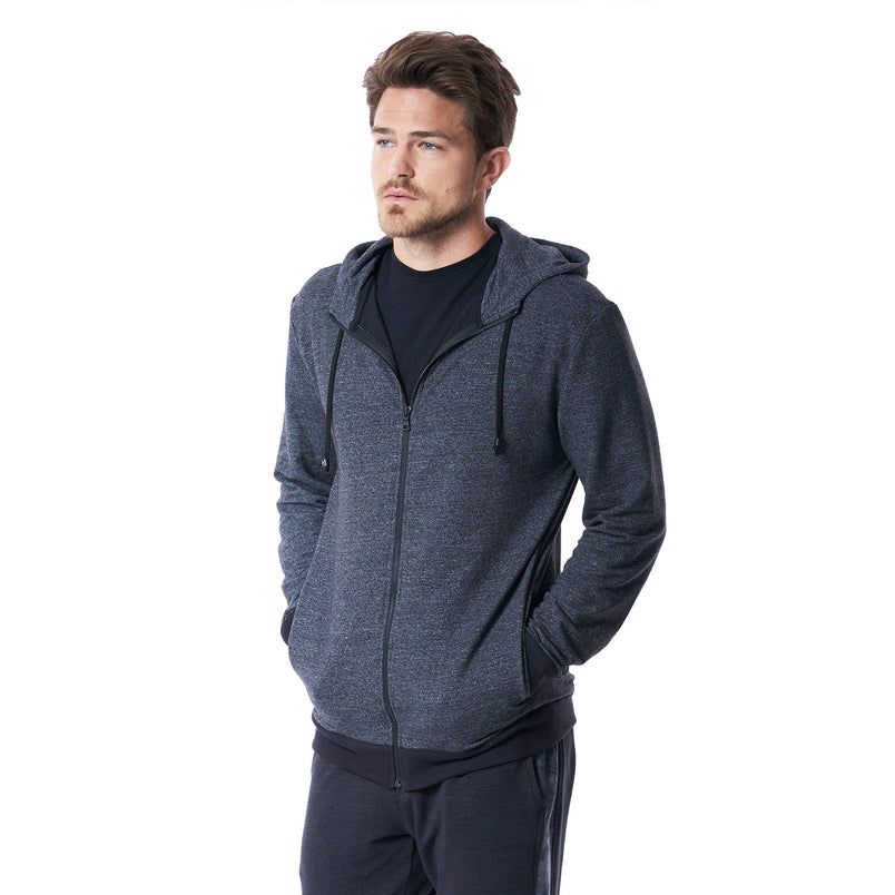 Fin Panel Zip Up Hoodie in Heather Black - Mitchell Evan