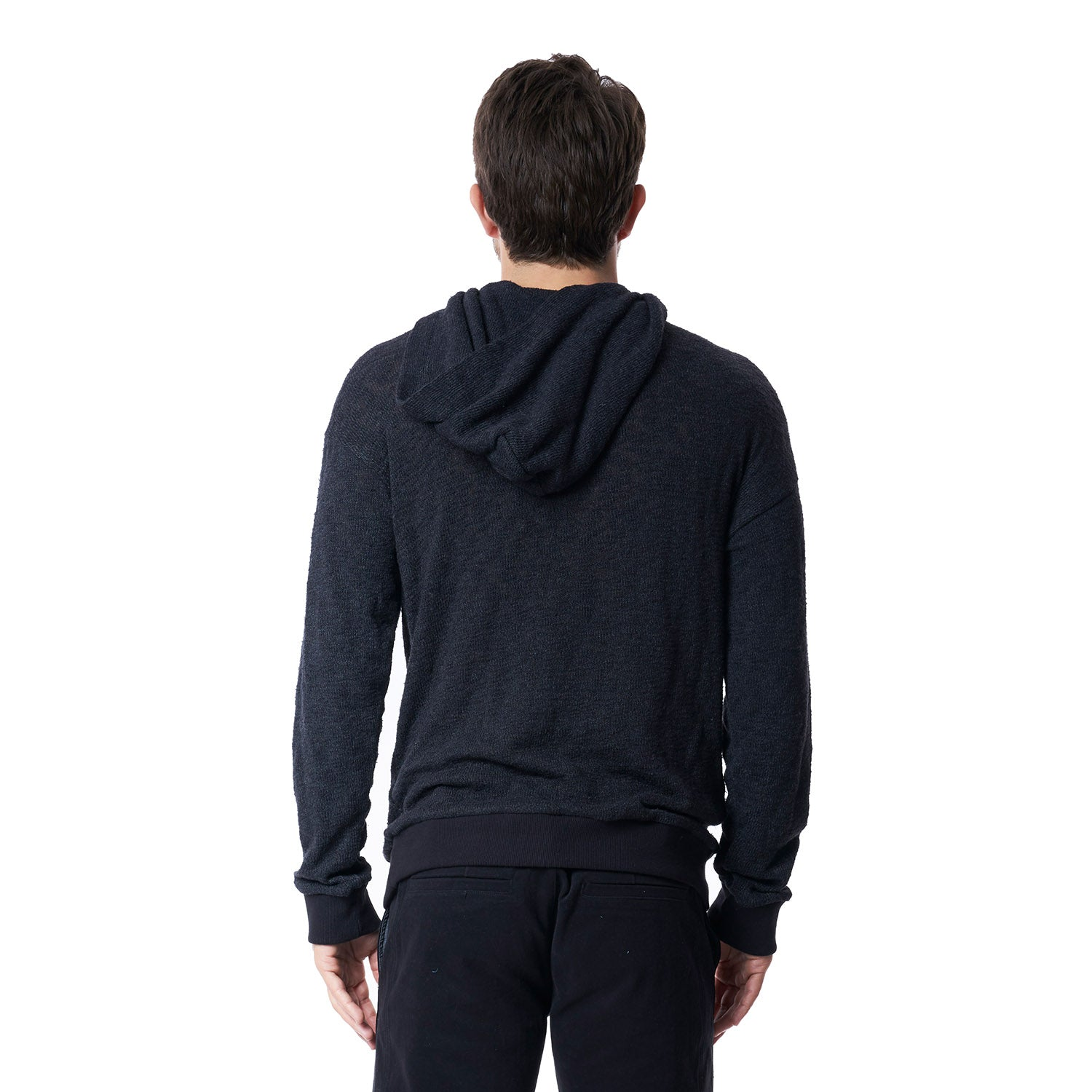 Palm Drop Shoulder Hoodie in Black - Mitchell Evan