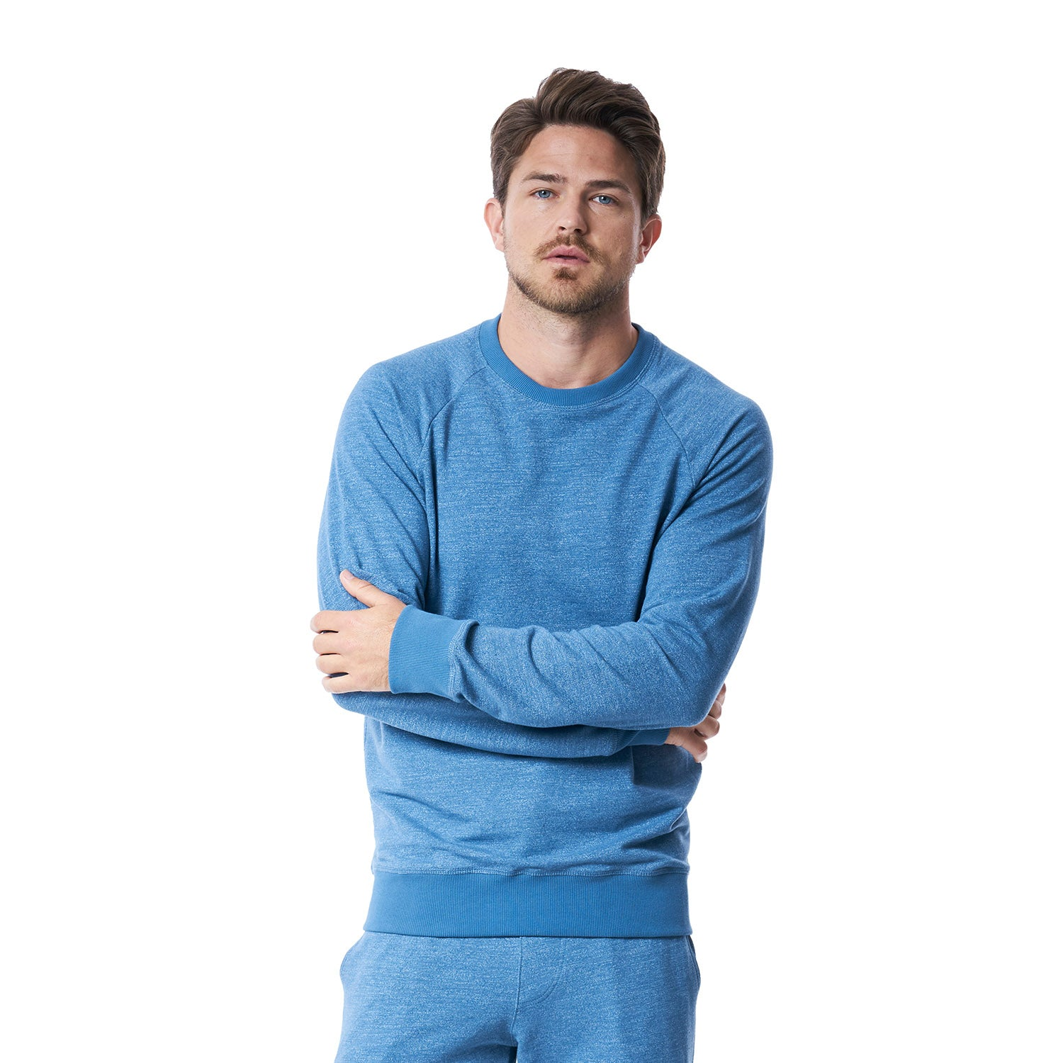 River Raglan Crewneck Sweatshirt in Heather Blue Mirage - Mitchell Evan