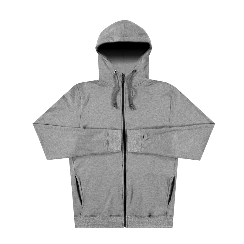 Panel Zip Up Hoodie in Grey - Mitchell Evan