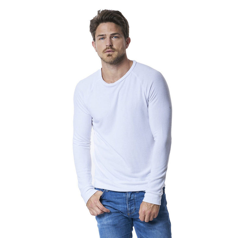 Brushed Long Sleeve T-Shirt in Optic White - Mitchell Evan