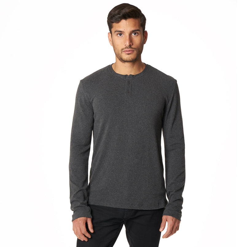 Long Sleeve Henley in Bamboo Charcoal - Mitchell Evan